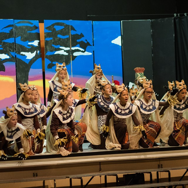 These lions put on a mighty show for the audience during the rendition of the Lion King!