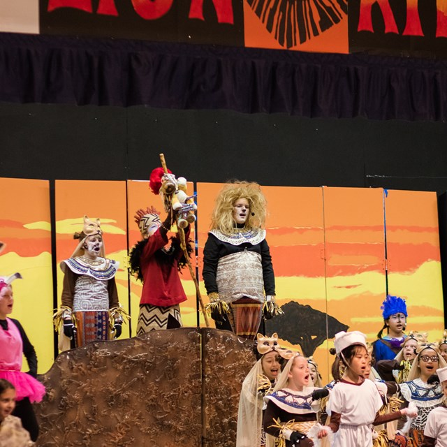 Simba is shown his kingdom at Pride Rock during this Lion King performance!